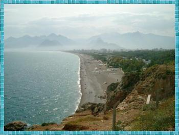 Antalya - beach and mountains. Photo by Elaine Potter