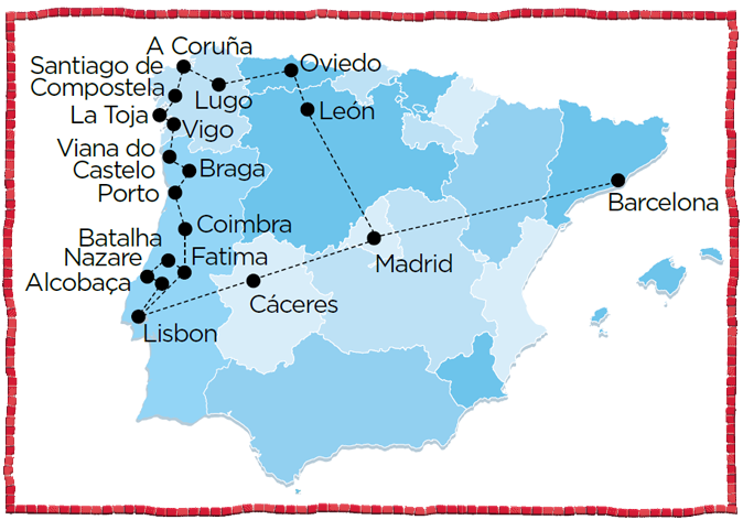Galicia northwestern spain portugal coimbra lisbon oporto lisboa madrid