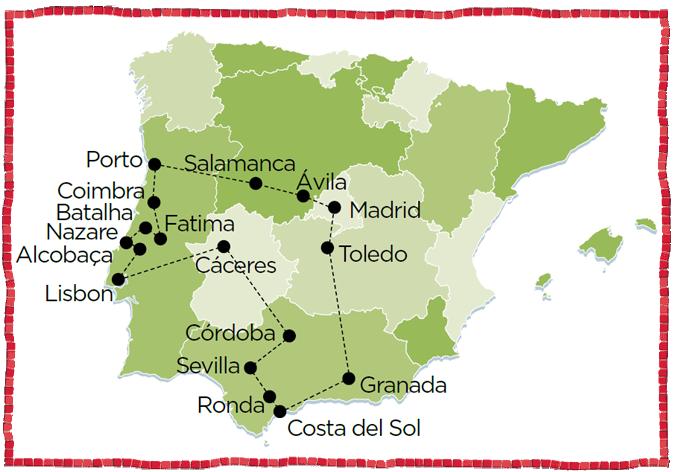 Madrid, Avila, Salamanca, Porto, Coimbra, Fatima, Batalha, Nazare, Alcobaca, Lisbon, Caceres, Cordoba, Seville, Granada, Toledo