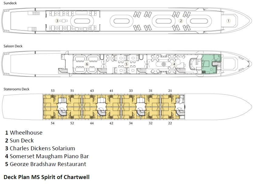 MS Spirit of Chartwell Luxury Douro River Cruise Deck Plan